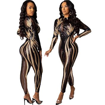 Women Sexy Sequin Black/Gold Long Sleeve Fashion Jumpsuit