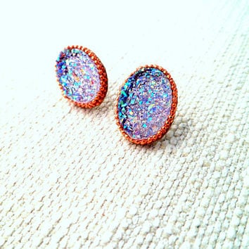 Oval  Druzy Earrings, Purple and Rose Gold Druzy Studs, AB Faux Drusy, Pink and Purple Resin Druzy Earrings, Gift for her