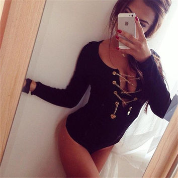 One Piece Women bodycon Jumpsuit Ladies Sexy Black Long Sleeve Deep V Neck Rompers With Metal Chian