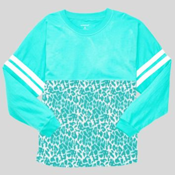 Athletic Unisex Pom Pom Pullover Jersey. Turquoise Leopard.