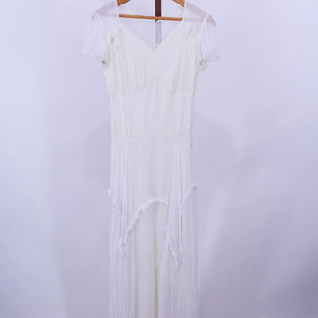 TLC 1940s White Evening Wedding Dress S W 25""