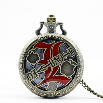 PB209  New Fashion Death Note pocket watch men retro quartz machinery women steampunk relogio de bolso reloj mujer