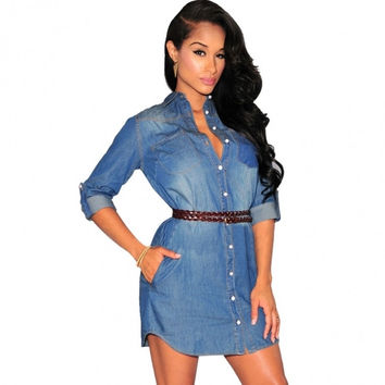 Stylish Lady Women's Casual Medium Sleeve Turndown Neck Denim Mini Dress