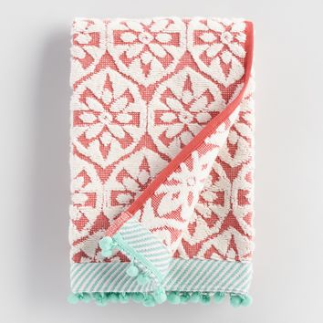 Coral and Aqua Orchid Foulard Sculpted Hand Towel