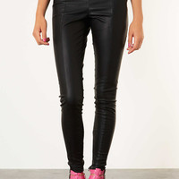 Petite Seam Detail Leather Look Trousers - Topshop