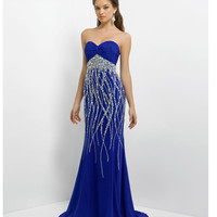 Blush 2014 Prom Dresses - Cobalt Strapless Embellished Long Prom Dress - Unique Vintage - Prom dresses, retro dresses, retro swimsuits.