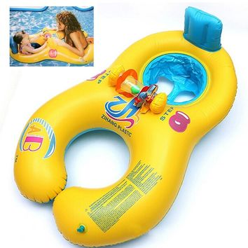 NEW Safe Soft Inflatable Mother Baby Swim Float Ring Kids Seat Double Person Swimming Pool Blue Yellow Free Shipping