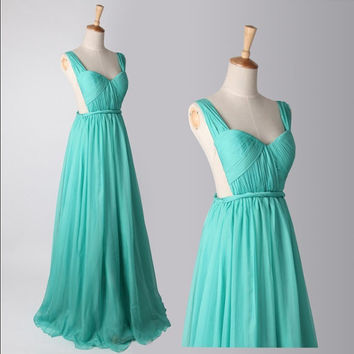 Blue Chiffon Bridesmaid Dress Prom Dress Party Dress