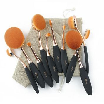 Professional 10 pcs Oval Makeup Brushes Extremely Soft Makeup Brush Set Foundation Powder Brush Kit with Bag