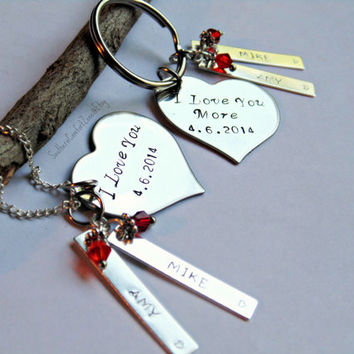 I Love You More - His and Hers - Necklace Key Chain Jewelry - Couple Love Relationship - Wedding Anniversary Gift - Personalized Stamped