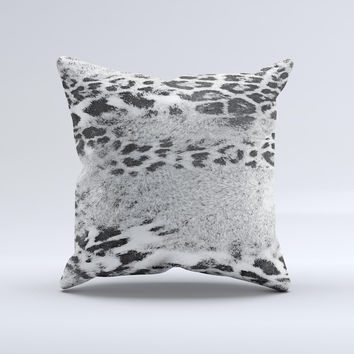 White and Black Real Leopard Print ink-Fuzed Decorative Throw Pillow