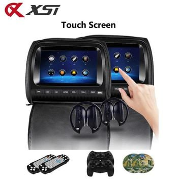 XST 2PCS 9 Inch Touch Screen Car Headrest Monitor DVD Video Player Zipper Cover TFT LCD IR/FM Transmitter/USB/SD/Speaker/Game