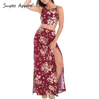 Simplee Apparel Summer style 2016 floral print red dress Two piece boho maxi dress vestidos Sexy backless beach women long dress