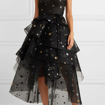 Monique Lhuillier - Asymmetric tiered glittered tulle midi dress
