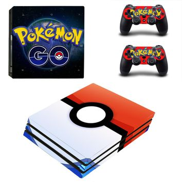Ps4 PRO Console Skin Pokemon GO Decal Sticker + 2 Controller Skins Set