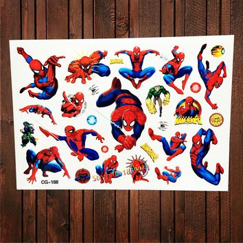 FANRUI Design SuperHero Cartoon Spiderman Waterproof Temporary Tattoo Sticker For Child Body Art Tatoo Flash Fake Tattoo Kid