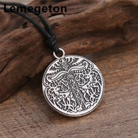 Lemegeton Animal Deer and Eagle Plaque Amulet Charms Vintage Wicca Sekira Nordic Talisman Pendant Jewelry Necklace For Men