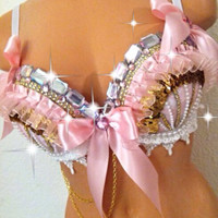 Reserved for Lauren: Pale Pink & Gold Rave Bra (2nd Payment)