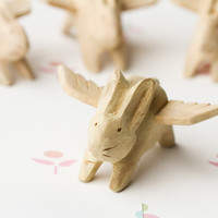 Hand-carved Wooden Angel Rabbit Rabbits Handmade
