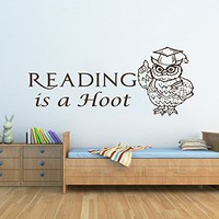 Wall Decals Quotes Vinyl Sticker Decal Quote Reading is a Hoot Nursery Baby Room Kids Boys Girls Home Decor Bedroom Art Design Interior NS692