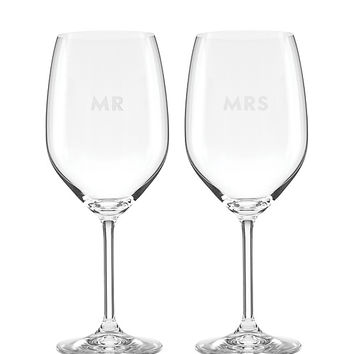 set of 2 darling point mr. and mrs. wine glasses | Kate Spade New York
