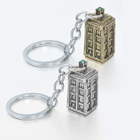 Movie Jewelry Doctor Who Key Chains Ancient Silver TARDIS keychain Movie Props Metal Alloy Keychain men Gift