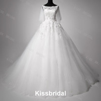 Gorgeous A-line Sweetheart with sleeves Chapel Train Lace Bridal Wedding Dresses