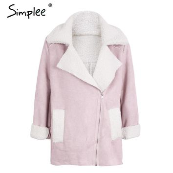 Simplee Faux suede lamb fur turn down jacket coat Women casual leather trench zipper coat Winter pink basic jacket coat female
