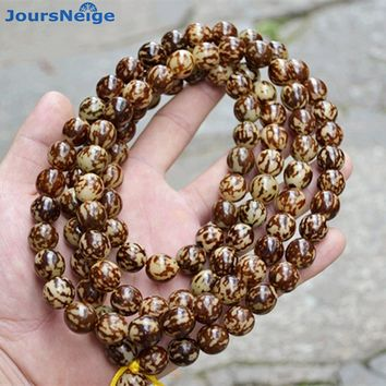 JoursNeige Small flowers tiger Root Bodhi Bracelets 108 Buddh Beads Prayer Japa mala rosary Wood hand string men women Bracelet