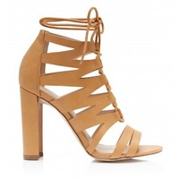 Foxy Caged Ghillie Heels Camel - Womens Fashion | Forever New