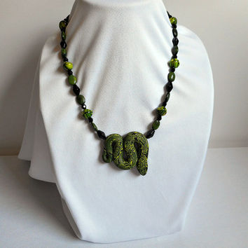 Black and Green Polymer Clay Snake Necklace with Vintage German Glass Beads, Reptile Jewelry, with Extender, Made in Colorado