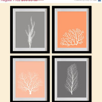 ON SALE Sea Coral Art Print - Atomic Tangerine, Salmon Orange, Gray - Set of 4 - 8X10 - Fan Coral, Sea Plants, Weeds - No. 004-9-S4