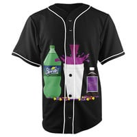 Dirty Sprite Black Button Up Baseball Jersey