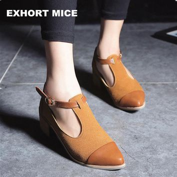 2018 Vintage Oxford Shoes Women Pointed Toe Cut Out Med Heel Patchwork Buckle Ladies Shoes Flats