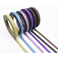 Set of 6 Thin Glitter Washi Tapes in Blush Pink, Purple, Green, Yellow, Blue and Antique Gold