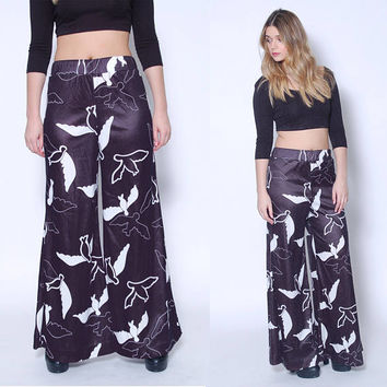Vintage 60s WIDE LEG Pants BIRD Print Bell Bottoms Graphic Print Flares Printed Pants