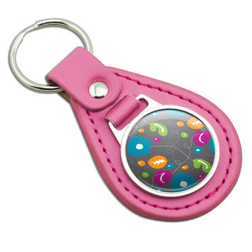 Abstract Nature Pattern Flowers Pink Leather Keychain