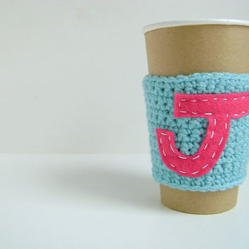 MONAGRAMMED Cup cozy  Personalized and custom made with your initial by The Cozy Project