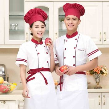 (1set-Hat&Shirt&Apron) high quality white cooker wear unisex cook short clothes cool chef tops chief breathable clothing