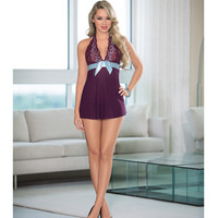 Sheer Baby Doll W-ribbon Bow Plum-turquoise Md