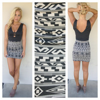 Black & Mocha Tribal Print Mini Dress