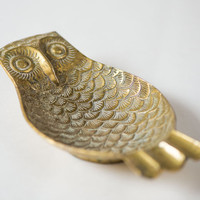 Vintage ashtray owl ornamented ashtray brass 3 slot cigarette ashtray home decor Christmas