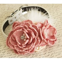 Dusty Pink Flower Wedding dog collar, Dog birthday, Pet accessory, Choker