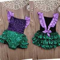 New Infant Baby Girl Clothes Sequins Bodysuit Backless Jumpsuit Outfits Sunsuit One pieces New