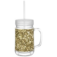 Gold Glitter Acrylic Mason Jar Travel Tumbler w Lid and Straw