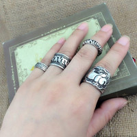Vintage Punk Ring Set Unique Carved Antique Silver Elephant Totem Rings