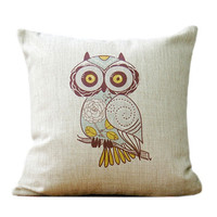 Linen decorative pillow with owl print animal pillow made with natural linen owl pillow accent pillow