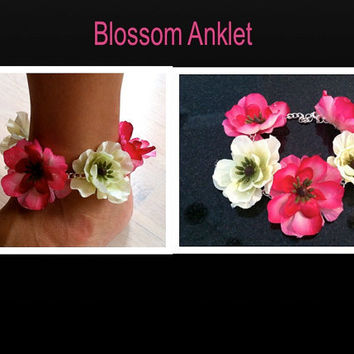 Flower Anklet, Ankle Bracelet, Flower Jewelry, summer accessories, EDC, Coachella, Festival, Beach Jewelry, Flowers