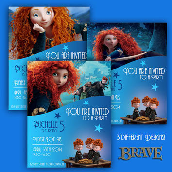 BRAVE - Birthday Invite Cards - 3 different designs - High Quality 300 DPI- Customized -Party Printables