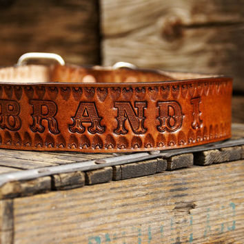 Western Name on Tooled Leather Dog Collar by OutlawLeatherUSA